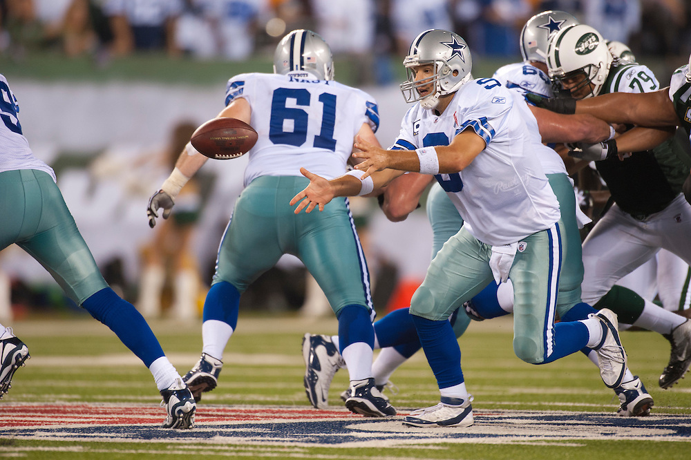 EAST RUTHERFORD, NJ - SEPTEMBER 11: Tony Romo #9 of the Dallas Cowboys pitches out against the New York Jets at MetLife Stadium on September 11, 2011 in East Rutherford, New Jersey. The Jets defeated the Cowboys 27 to 24. (Photo by Rob Tringali) *** Local Caption *** Tony Romo