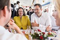 05 JUN 2018, BERLIN/GERMANY:<br /> Andrea Nahles (L), SPD Partei- und Fraktionsvorsitzende, und Lars Klingbeil (R), SPD Generalsekretaer, Spargelfahrt des Seeheimer Kreises der SPD, Anleger Wannsee<br /> IMAGE: 20180605-01-091