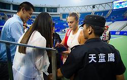 September 26, 2018 - Aryna Sabalenka of Belarus celebrates winning her third-round match at the 2018 Dongfeng Motor Wuhan Open WTA Premier 5 tennis tournament (Credit Image: © AFP7 via ZUMA Wire)