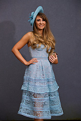 LIVERPOOL, ENGLAND - Thursday, April 6, 2017: Sarah Cluney, 28 from Maghull, wearing a dress from Self Portrait and a Jimmy Choo clutch bag, during The Opening Day on Day One of the Aintree Grand National Festival 2017 at Aintree Racecourse. (Pic by David Rawcliffe/Propaganda)