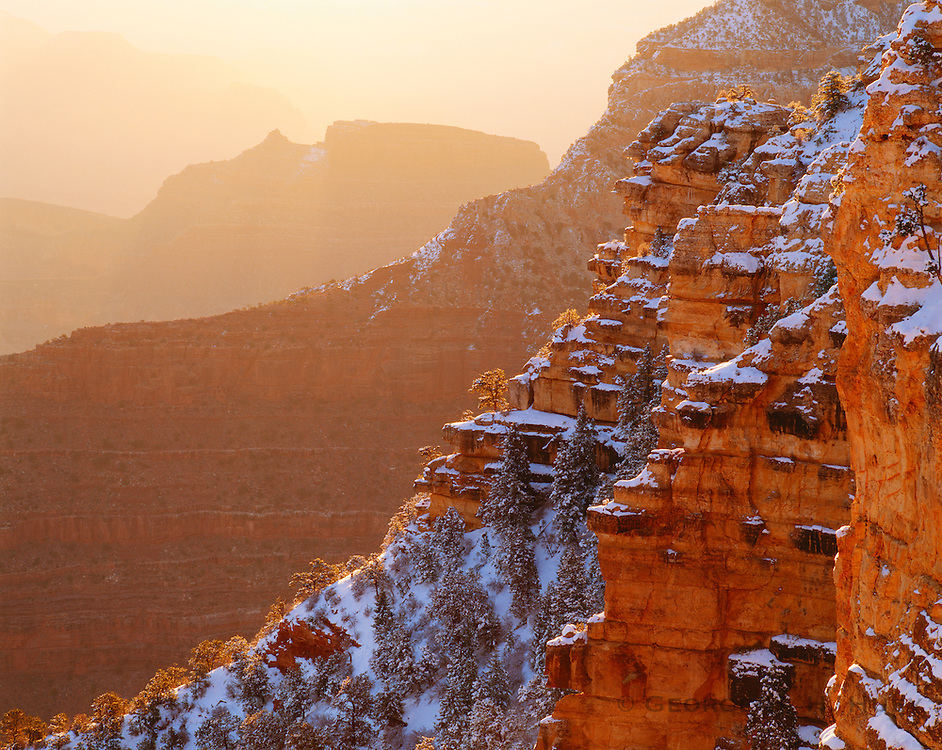 0107-1012 ~ Copyright: George H. H. Huey ~  Sunrise, winter, from near Yavapai Point. Grand Canyon National Park, Arizona.