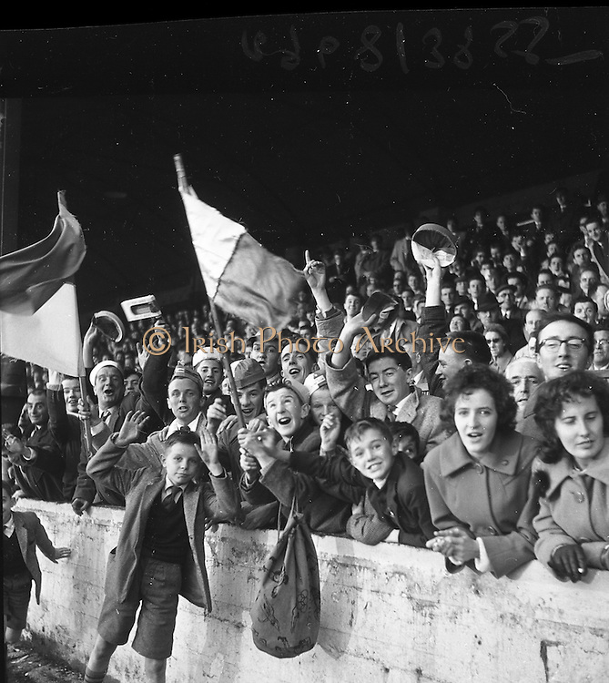 29/10/1961<br /> 10/29/1961<br /> 29 October 1961<br /> Soccer; Drumcondra v Cork Hibernians in the final round of the Shield Competition at Tolka Park, Dublin. Some of the supporters at the game.