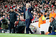 Arsenal manager Arsene Wenger shouting with hands in the air during the Europa League semi final first leg match between Arsenal and Atletico Madrid at the Emirates Stadium, London, England on 26 April 2018. Picture by Matthew Redman.