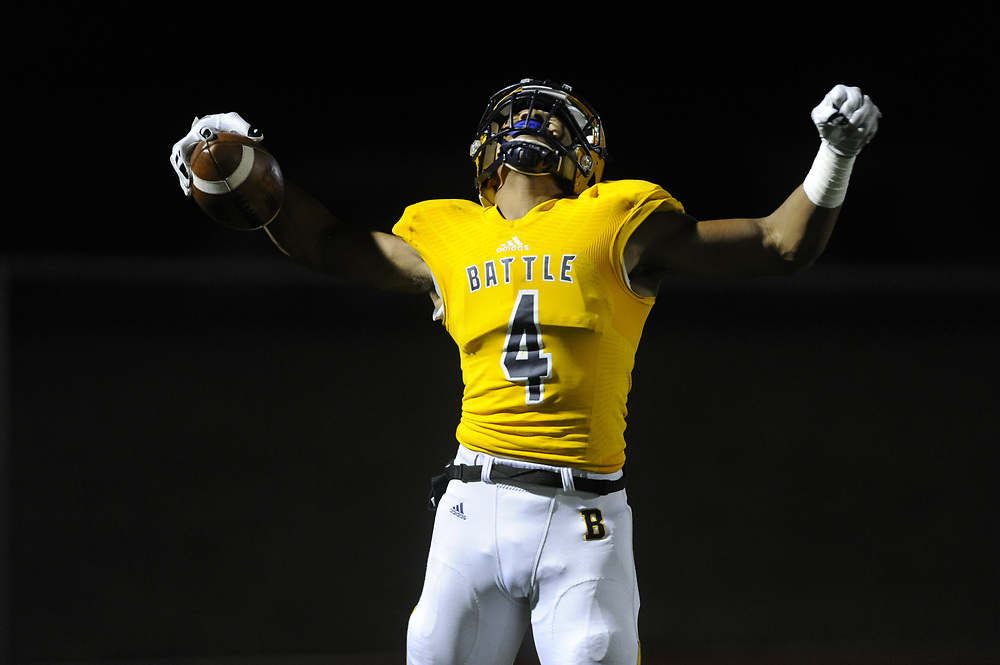 Junior wide receiver, Jaevon McQuitty, celebrates after catching a pass near the end zone during the second quarter.  His pass was ruled incomplete for being caught out of bounds.