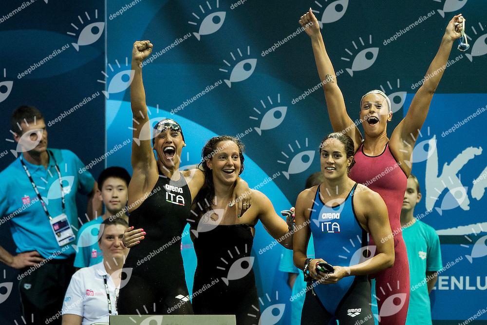 Alice Mizzau, Erika Ferraioli, Giada Galizi, Federica Pellegrini Italy ITA<br /> 4X100 Freestyle Women Final Bronze Medal Italian Record<br /> 32nd LEN European Championships <br /> Berlin, Germany 2014  Aug.13 th - Aug. 24 th<br /> Day06 - Aug. 18<br /> Photo A.Masini/Deepbluemedia/Inside