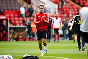 Callum Robinson of Sheffield United warming up for the Premier League match between Sheffield United and Crystal Palace at Bramall Lane, Sheffield, England on 18 August 2019.