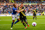 Carlisle United Forward Derek Asamoah and Morecambe FC Defender Shaun Beeley battle during the Sky Bet League 2 match between Carlisle United and Morecambe at Brunton Park, Carlisle, England on 10 October 2015. Photo by Craig McAllister.