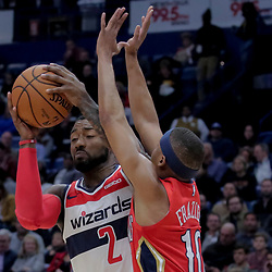 Nov 28, 2018; New Orleans, LA, USA; Washington Wizards guard John Wall (2) is defended by New Orleans Pelicans guard Tim Frazier (10) during the second quarter at the Smoothie King Center. Mandatory Credit: Derick E. Hingle-USA TODAY Sports