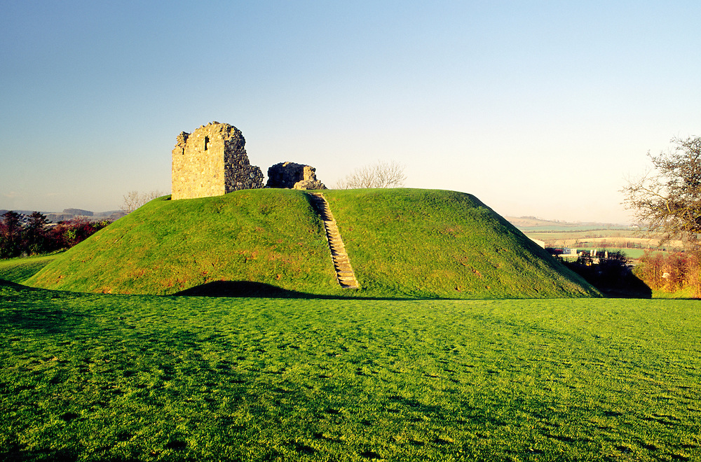 Ruins of 13th C. Clough Castle on the motte of the earlier Norman motte and bailey castle. County Down, Northern Ireland