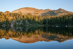"""Five Lakes 6"" - Early morning photograph of one of the Five Lakes in the Tahoe area. Squaw Vally Ski Resort's Headwall ski lift can be seen in the distance."