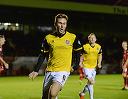 Northampton  midfielder Joel Byrom celebrates his goal to make it 1-0 to Northampton during the Sky Bet League 2 match between Crawley Town and Northampton Town at the Checkatrade.com Stadium, Crawley, England on 24 November 2015. Photo by David Charbit.
