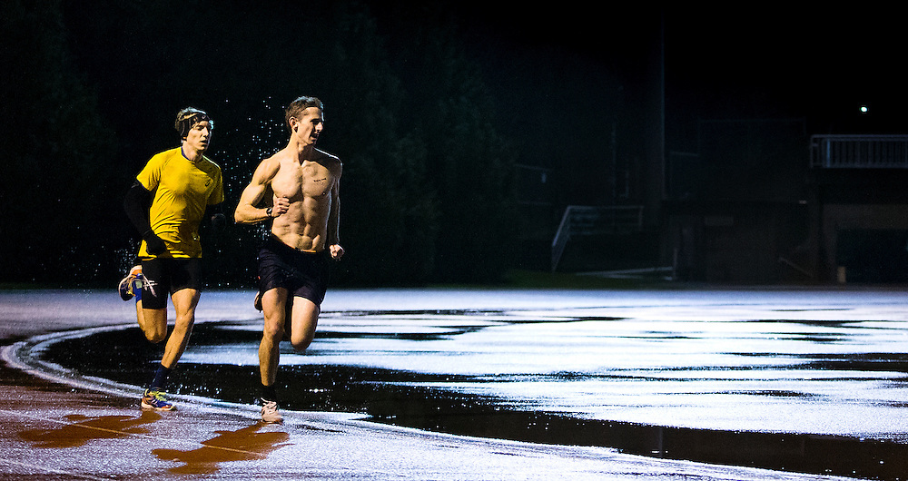 Canadian Athletes Taylor Milne trains without a shirt with Charles Philibert-Thiboutot at the University of Victoria in Victoria, British Columbia Canada.