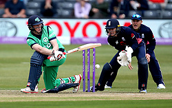 Kevin O'Brien of Ireland attempts a sweep shot - Mandatory by-line: Robbie Stephenson/JMP - 05/05/2017 - CRICKET - Brightside County Ground - Bristol, United Kingdom - England v Ireland - Royal London One Day Cup