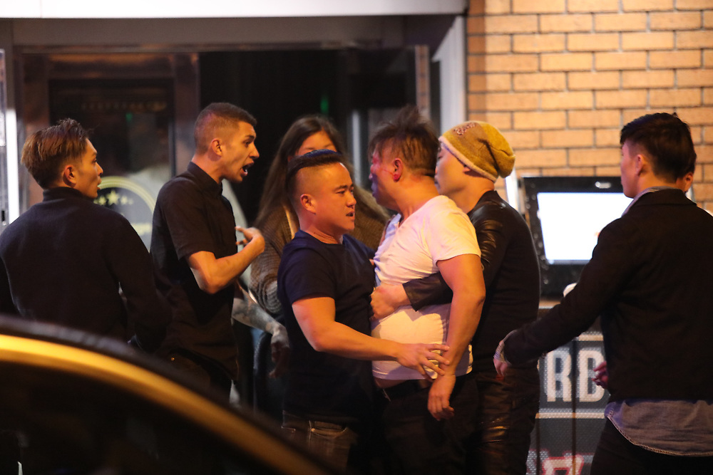 Manchester UK 21.09.2016 Manchester Boouncers and customers fighting outside the Birdcage in Manchester city Cenrtre
