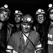 Longannet Colliery, Fife. The last 5 miners back on the surface after the last shift. L to R. Stewart Steele, Kevin Skelton, Lachie Farries, Kenneth Nicholson and Stewart Nicholson.