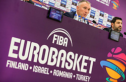 Kamil Novak, FIBA Executive director Europe and Omer Onan, CEO / Secretary General TBF during press conference of Organising committee before basketball match between National Teams of Russia and Spain at Day 18 in 3rd place match of the FIBA EuroBasket 2017 at Sinan Erdem Dome in Istanbul, Turkey on September 17, 2017. Photo by Vid Ponikvar / Sportida