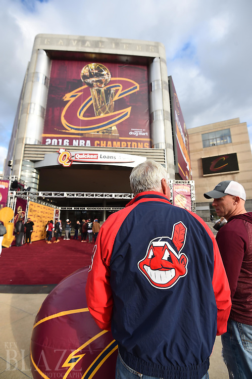 Oct 25, 2016; Cleveland, OH, USA; Cleveland Indians fans Tim Toot stands outside of Quicken Loans Arena home of the Cleveland Cavaliers before game one of the 2016 World Series between the Chicago Cubs and the Cleveland Indians. Mandatory Credit: Ken Blaze-USA TODAY Sports