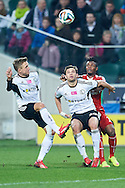 (L) Legia's Jakub Rzezniczak & (C) Legia's Bartosz Bereszynski fights for the ball with (R) Wisla's Emmanuel Saki during T-Mobile ExtraLeague soccer match between Legia Warsaw and Wisla Krakow in Warsaw, Poland.<br /> <br /> Poland, Warsaw, March 15, 2015<br /> <br /> Picture also available in RAW (NEF) or TIFF format on special request.<br /> <br /> For editorial use only. Any commercial or promotional use requires permission.<br /> <br /> Mandatory credit:<br /> Photo by © Adam Nurkiewicz / Mediasport