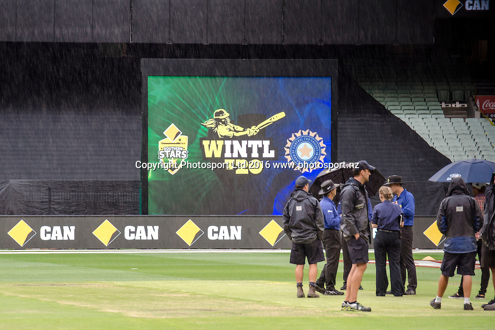 Frequent rain played spoilsport during the Women's Twenty20 match between Australia and India at the MCG in Melbourne, Australia. Friday 29 January 2016. Copyright photo: Raghavan Venugopal / www.photosport.nz