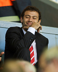 LIVERPOOL, ENGLAND - Thursday, August 19, 2010: Liverpool's Javier Mascherano sits in the Director's Box to watch his side take on Trabzonspor during the UEFA Europa League Play-Off 1st Leg match at Anfield. (Pic by: David Rawcliffe/Propaganda)