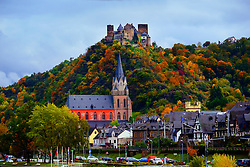 Churches and castles along the Rhine River.