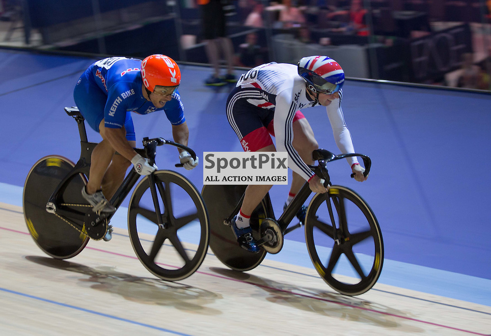 Jason Kenny of Team GB leads Christos Vloikakis of Greece in the Men's Sprint at the Revoultion Series 2015/6 Round 1 Derby, Day 2, on 15 August 2015 ( (Photo by Mike Poole - Photopoole)