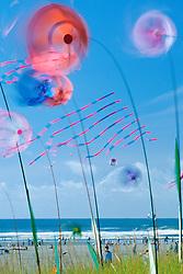 North America, United States, Washington, Long Beach. Kites spinning at Washington State Kite Festival