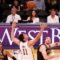 07 January 2018: Jump ball between Los Angeles Lakers center Brook Lopez (11) and Atlanta Hawks center Miles Plumlee (18) during the LA Lakers 132-113 victory over the Atlanta Hawks, at the Staples Center, Los Angeles, California, USA.