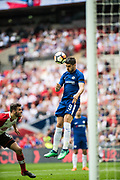 Chelsea (9) Álvaro Morata, scoring goal during the The FA Cup match between Chelsea and Southampton at Wembley Stadium, London, England on 22 April 2018. Picture by Sebastian Frej.