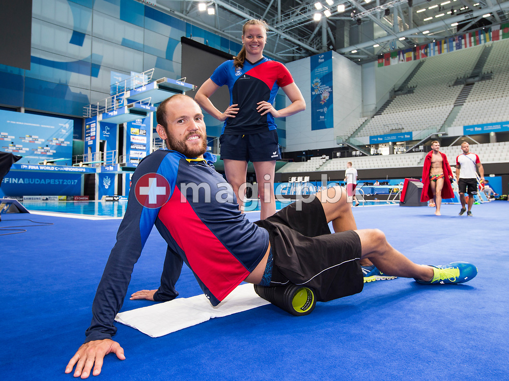 Christoph MEIER (front) and Julia Hassler of Liechtenstein pose for a photo during a training session during the swimming events of the 17th Fina World Championships held at the Duna Arena in Budapest, Hungary, Saturday, July 22, 2017. (Photo by Patrick B. Kraemer / MAGICPBK)