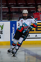 KELOWNA, BC - JANUARY 11: Rilen Kovacevic #12 of the Kelowna Rockets warms up for his first WHL career game against the Kamloops Blazers at Prospera Place on January 11, 2020 in Kelowna, Canada. (Photo by Marissa Baecker/Shoot the Breeze)