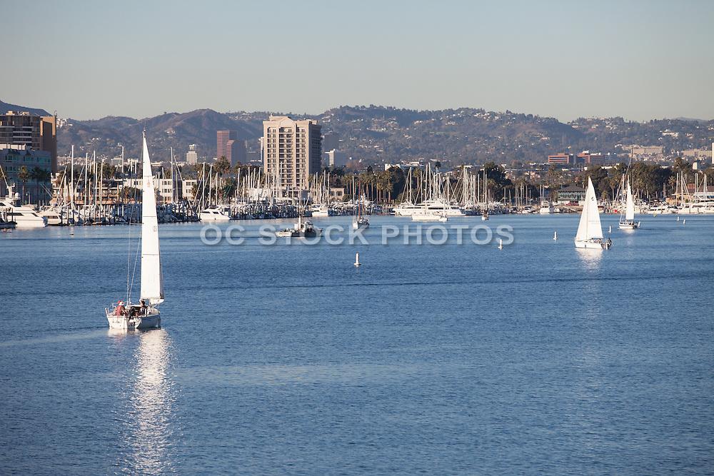 Sailboats in the harbor at Marina Del Rey in Los Angeles