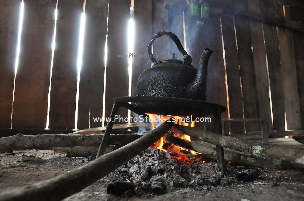 Kettle on open fire, Phongsaly Province, Laos