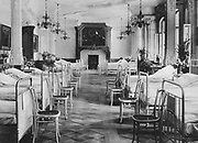 World War I 1914-1918: Ward in a house in Frankfort-am-Main converted into a German military hospital, 1915. Army, Medicine, Furniture, Chair,  Bentwood