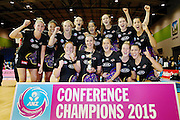The Waikato BOP Magic celebrate with the New Zealand Conference Champions trophy. 2015 ANZ Championship Conference Final, Northern Mystics v WBOP Magic, The Trusts Arena, Auckland, New Zealand. 8 June 2015. Photo: Anthony Au-Yeung / www.photosport.co.nz