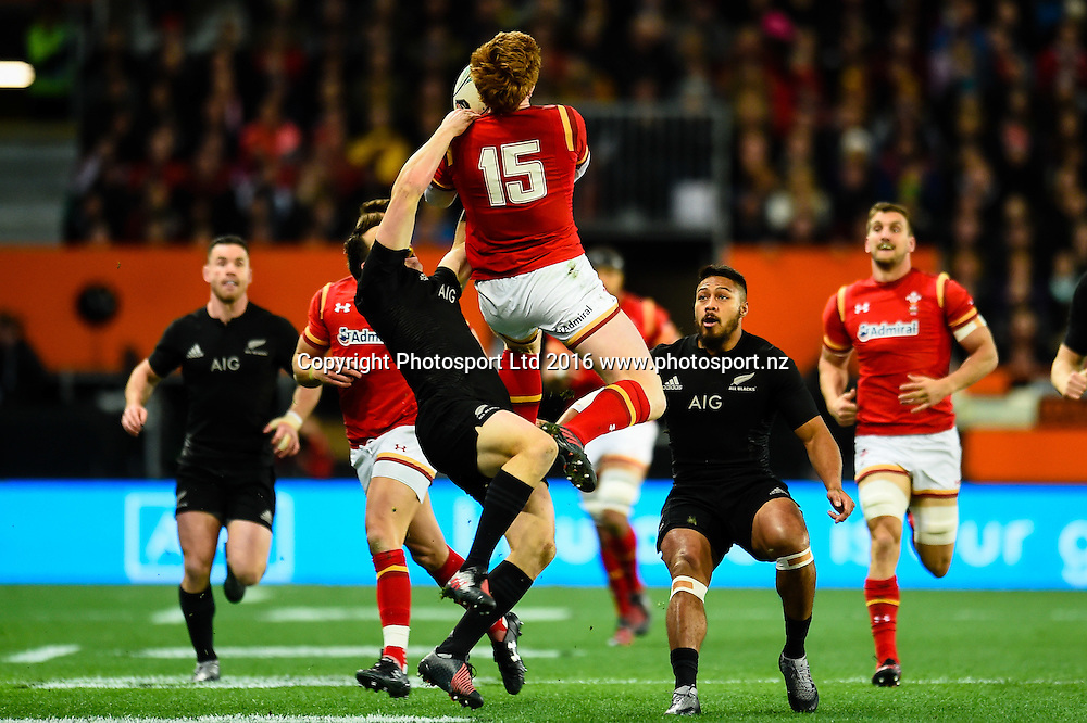 Rhys Patchell of Wales takes a high ball from Ben Smith of the All Blacks during the 3rd Steinlager Series Rugby Union Test match, All Blacks v Wales, at Forsyth Barr Stadium, Dunedin, New Zealand. 25th June 2016. Copyright Photo: John Davidson / www.photosport.nz