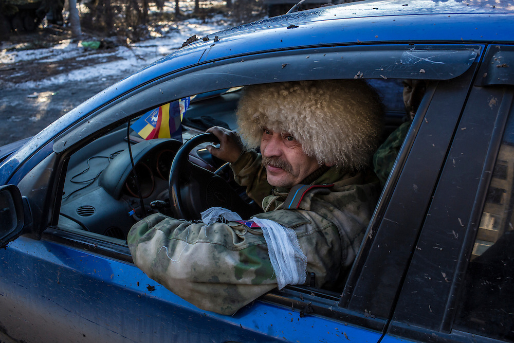 DEBALTSEVE, UKRAINE - FEBRUARY 20: Igor Sumskoi, a pro-Russia Cossack rebel fighter, on February 20, 2015 in Debaltseve, Ukraine. Ukrainian forces withdrew from the strategic and hard-fought town after being effectively surrounded by pro-Russian rebels, though fighting has caused widespread destruction. (Photo by Brendan Hoffman/Getty Images) *** Local Caption ***