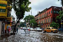Flash flood on streets of Amherst street.