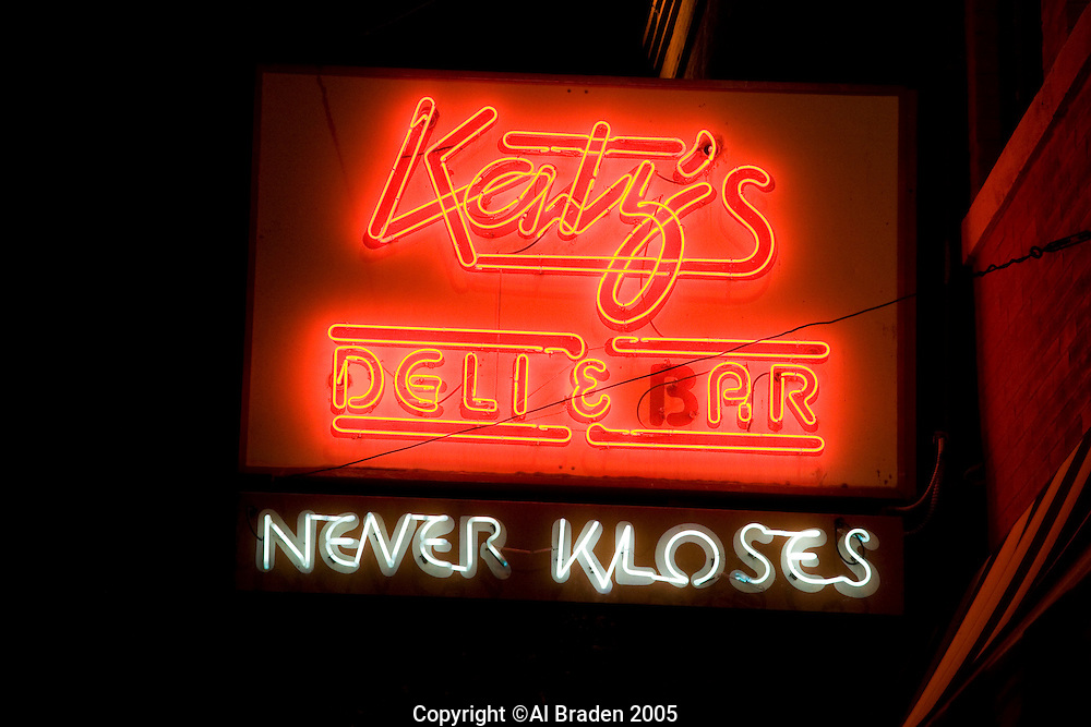 Katz's Deli, Austin, Texas is a favorite 24 hour grill where real New York cheese cake is flown in daily.