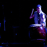 "April 9, 2011 - Manhattan, NY : Taiko drummer Hiro Kurashima performs with Lou Reed, Laurie Anderson and John Zorn during the Japan Society's 12-hour-long special ""Concert For Japan"" charity event on Saturday.   (This was taken during the 1-2:20pm Gala Block)... CREDIT: Karsten Moran for The New York Times."