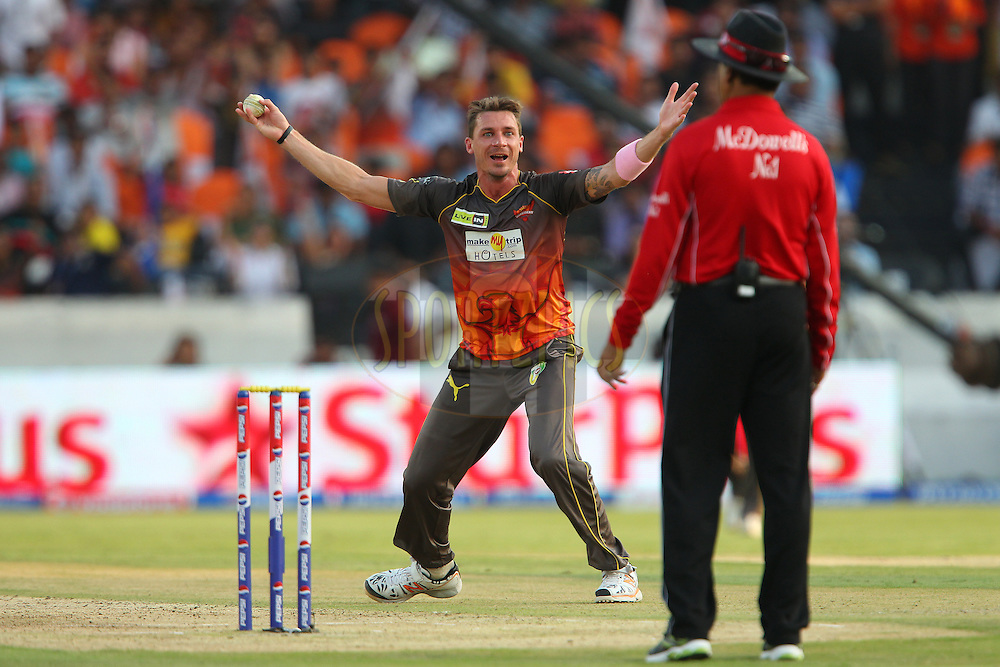 Dale Steyn appeals for the wicket of  Kieron Pollard during match 43 of the Pepsi Indian Premier League between The Sunrisers Hyderabad and Mumbai Indians held at the Rajiv Gandhi International  Stadium, Hyderabad  on the 1st May 2013..Photo by Ron Gaunt-IPL-SPORTZPICS ..Use of this image is subject to the terms and conditions as outlined by the BCCI. These terms can be found by following this link:..http://www.sportzpics.co.za/image/I0000SoRagM2cIEc