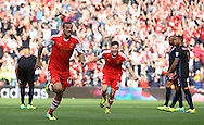 Picture by Paul Terry/Focus Images Ltd +44 7545 642257<br /> 28/09/2013<br /> Dani Osvaldo ( 2nd L ) of Southampton celebrates after scoring the opening goal during the Barclays Premier League match at the St Mary's Stadium, Southampton.