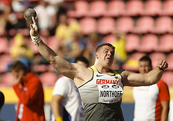 July 10, 2018 - Tampere, Suomi Finland - 180710 Friidrott, Junior-VM, Dag 1: Timo Northoff GER competes in Shot Put during the IAAF World U20 Championships day 1 at the Ratina stadion 10. July 2018 in Tampere, Finland. (Newspix24/Kalle Parkkinen) (Credit Image: © Kalle Parkkinen/Bildbyran via ZUMA Press)