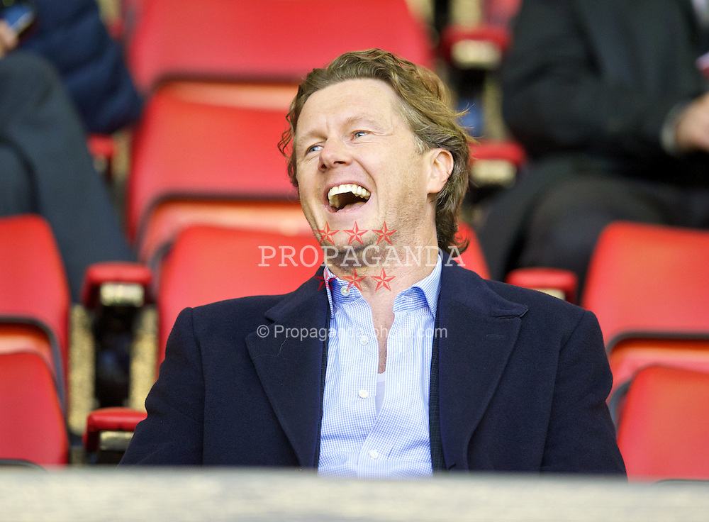 LIVERPOOL, ENGLAND - Tuesday, September 17, 2013: Former Liverpool player Steve McManaman watches from the Director's Box during the Under 21 FA Premier League match between Liverpool and Sunderland at Anfield. (Pic by David Rawcliffe/Propaganda)