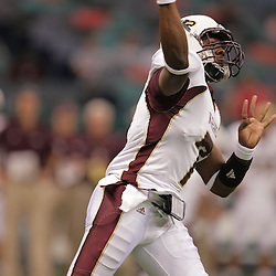 20 September 2008: Louisiana-Monroe quarterback Kinsmon Lancaster (7) throws a pass during a Conference USA match up between the University of Louisiana Monroe and Tulane at the Louisiana Superdome in New Orleans, LA.