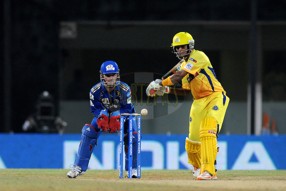 Subramaniam Badrinath of Chennai Super Kings bats  during match 3 of the NOKIA Champions League T20 ( CLT20 )between the Chennai Superkings and the Mumbai Indians held at the M. A. Chidambaram Stadium in Chennai , Tamil Nadu, India on the 24th September 2011..Photo by Pal Pillai/BCCI/SPORTZPICS