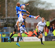 Calvin Andrew, Chris Hussey during the The FA Cup match between Rochdale and Bury at Spotland, Rochdale, England on 6 December 2015. Photo by Daniel Youngs.