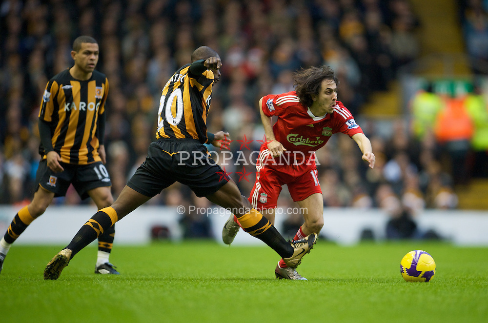 LIVERPOOL, ENGLAND - Saturday, December 13, 2008: Liverpool's Yossi Benayoun in action against Hull City during the Premiership match at Anfield. (Photo by David Rawcliffe/Propaganda)