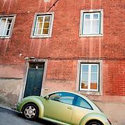 Car parked at steep street at Sintra