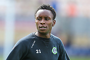 Forest Green Rovers Shawn McCoulsky(21) warming up during the EFL Sky Bet League 2 match between Cambridge United and Forest Green Rovers at the Cambs Glass Stadium, Cambridge, England on 7 September 2019.